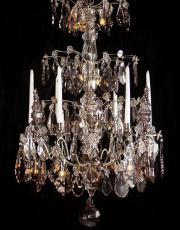 Grosser antiker silberner kristallner Kronleuchter aus Frankreich