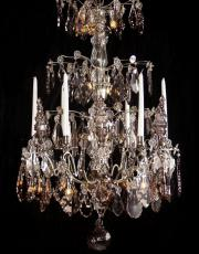 Large antique silver crystal chandelier