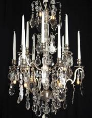 Large silver antique chandelier from France