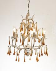 Italian chandelier with pink opaline drops
