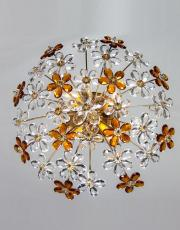 Antique Italian ceiling light with amber colored drops