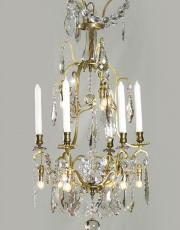 Antique gilded birdcage chandelier with Led