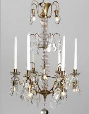 Antique gilded crystal chandelier from France