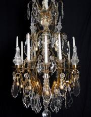 Baccarat large gilded antique crystal chandelier from France