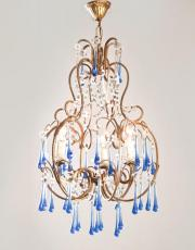 Italian chandelier with blue colored drops