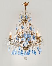 Italian antique chandelier with colored drops