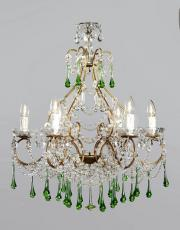 Italian chandelier with green drops.