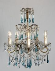 Italian 1930s chandelier with blue drops
