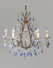 Italian 1930s antique chandelier with blue crystal drops