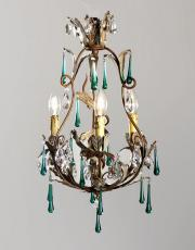 Italian 1930s chandelier green colored drops