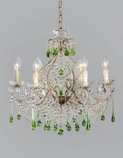 Italian 1930s chandelier with green colored drops
