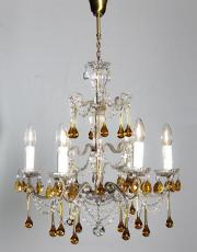 Italian antique chandelier with amber colored drops