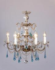 Italian antique chandelier with blue drops