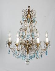 Italian chandelier with blue drops
