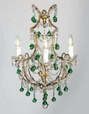 Italian chandelier with green colored drops