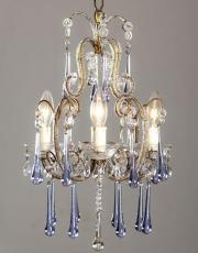 Italian chandelier with lilac colored drops