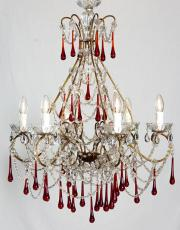 large Italian chandelier with red colored drops