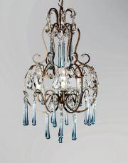 Italian chandelier with blue colored drops.