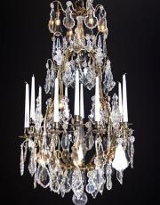 Large French antique chandelier with crystal drops