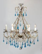 Large Italian antique chandelier blue colored drops