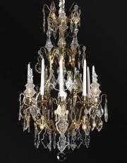 Large antique crystal birdcage from France