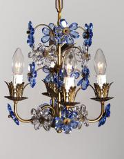 Small Hollywood regency chandelier with blue flowers