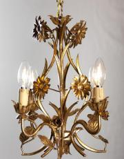 Vintage gilded crystal Italian Hollywood regency chandelier