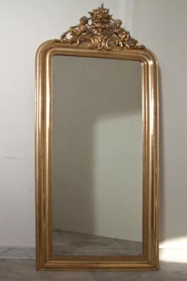 Franse antieke bladzilveren spiegel