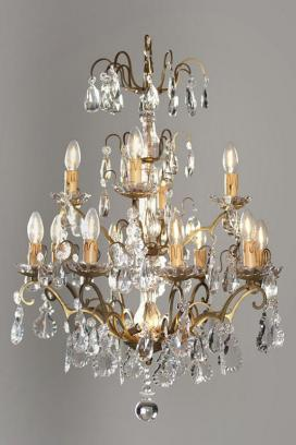 Antique French crystal chandelier with lighting