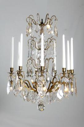 Antique bronze crystal French chandelier