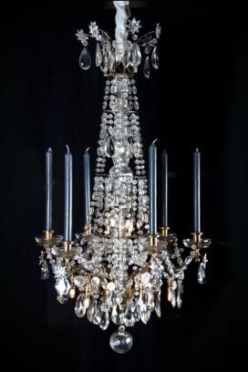 Antieke Franse kristallen kroonluchter Louis XVI