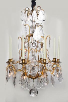 Franse antieke kristallen lustre a cage
