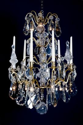 Franse antieke vergulde kristallen kroonluchter