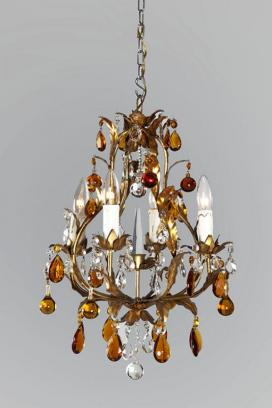 Italiaanse kroonluchter met amber gekleurde pegels