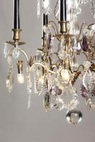 French chandelier with purple colored drops