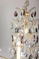 Italiaanse antieke kroonluchter met paarse gekleurde kristallen pegels