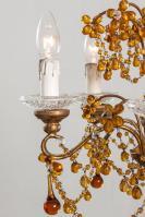 Italiaanse antieke kroonluchter met amber pegels